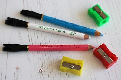 Dressmakers Fabric Marker Pencils with Tailors Chalk Lead + One Free Sharpener