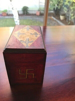 "Vintage wooden collectable card box & cards Naval, New Zealand ""Circa 1900"""