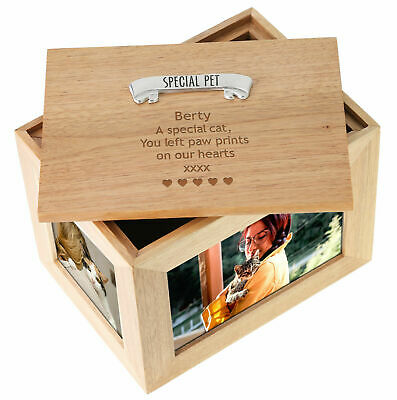 Deceased Cat & Kitten Large Oak Keepsake Photo Frame Memorial Remembrance Box