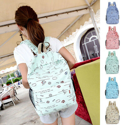 USA Women Backpack Canvas Travel Bookbags Rucksack School Bags for Teenage Girls