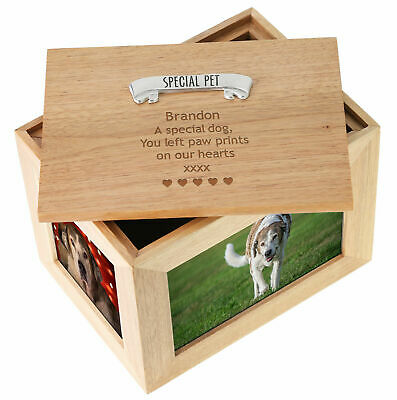 Engraved Deceased Dog & Puppy Large Oak Keepsake Memorial Photo Frame Memory Box