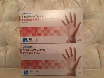 Lot Of 2 McKesson Vinyl Exam Gloves Powder-Free Non-Sterile Clear L Box Of 100