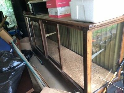 antique oak display case with beveled glass top 8 ft