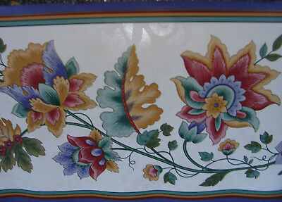 Wallpaper Border Dado Traditional Style scrolling Vine & Flower Blue Red Green