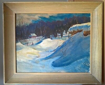 Antique Old American Impressionist Winter Landscape Oil Painting