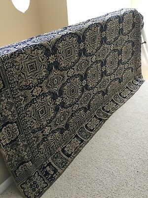 """Antiques Textile Signed """"Mary Cate"""" & Dated """"1847 A D"""" Navy/ Cream Wool Coverlet"""