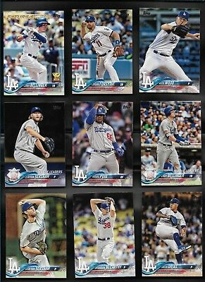 2018 Topps Series 1 & 2 LOS ANGELES DODGERS Complete 32 Card Team Set Kershaw