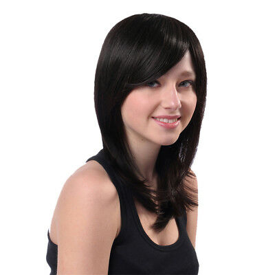 Women's Wig Long Straight Layers Real Human Hair Full Wigs for Cosplay Black