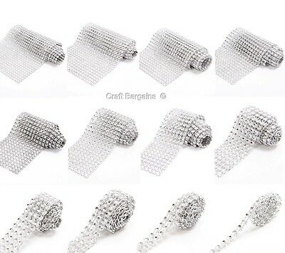 SILVER Diamante Bling Sparkling Diamond Effect Wedding Cake Craft Trim Ribbon
