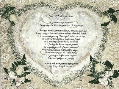 """The Art of Marriage"" Personalized Romantic Poem Gift - Wedding, Anniversary"