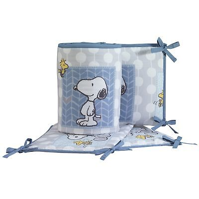 Bedtime Originals Forever Snoopy™ 4-Piece Crib Bumper - Blue, Gray, Snoopy