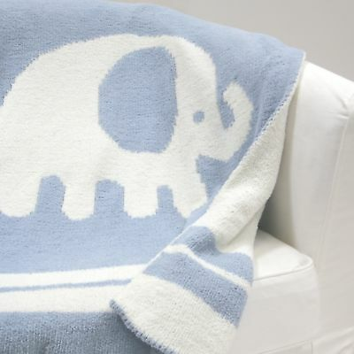 Lambs & Ivy Signature Elephant Tales Chenille Blanket  -  Blue, White, Animals,