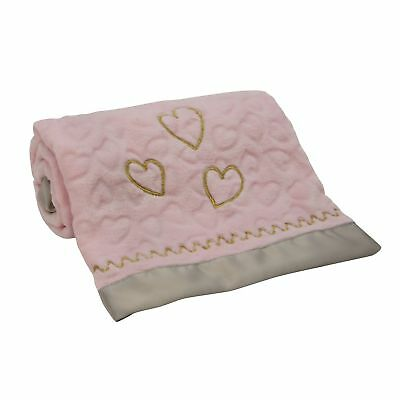 Lambs & Ivy Love Song Blanket  -  Pink, Gold, Hearts