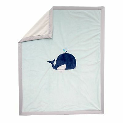 Lambs & Ivy Minky Blanket - Whale  -  Blue, Gray, Animals, Whale