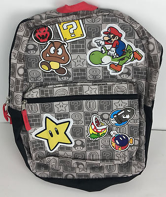 """Nintendo Super Mario 15"""" Boys Backpack with Zippered Pocket SD28888-MS-GY00"""