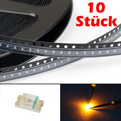 10 Stück SMD LED 0603 Leuchtdioden in GELB 120° 1.6 x 0.8 x 0.6mm L0103