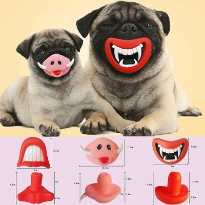 Pet Dog Teeth Funny Silicon Toy Chew Squeaker Squeaky Sound Puppy Play Supplies