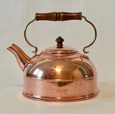 Revere Ware Copper Tea Kettle 2 Qt Pot Brass Applewood Handle 1801 Rome NY USA
