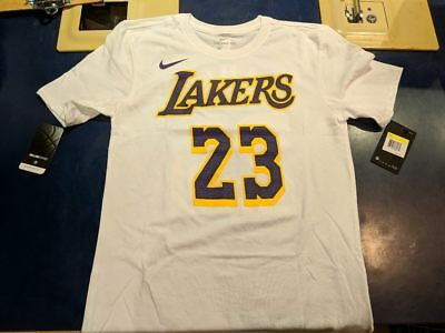new product 7f0de 6e779 NWT NIKE NBA LeBron James Los Angeles Lakers White Shirt Dri-Fit 23  AR4887-109