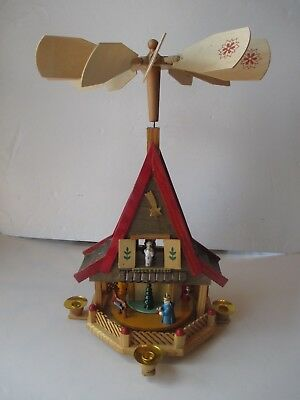 Vintage Weihnachts Nativity Christmas House shaped windmill pyramid carousel