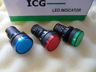 3 x LED PANEL PILOT SIGNAL WARNING LAMP 24V VOLT AC DC 22mm 1 of EACH 3 COLOURS