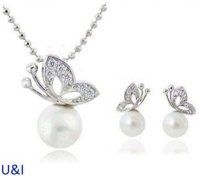 White Silver Bridal Diamante Butterfly Pearl Necklace Earrings Set Crystal