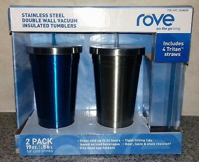 Stainless Steel Double Wall Insulated Vacuum Tumblers with Straws 2 Pack-rove