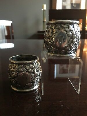 Kirk Repousse Coin Silver Napkin Ring 11 oz Mark Matching Pair