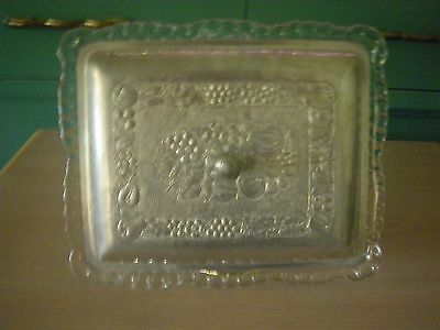 vtgCLEAR GLASS THREE PART RELISH PLATE WITH HAMMERED ALUMINUM FRUIT PATTERN  LID
