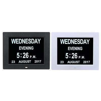 8 Inch LED Large Time Wall Clock With Digital Day Week Month Year Calendar Clock
