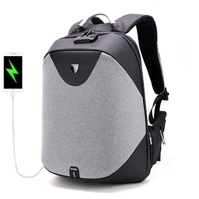 Men Antitheft Backpack 5in Laptop Business Backpack with Costoms Lock & USB Char