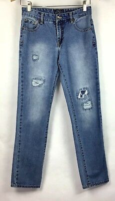 Lucky Brand Jeans Boys Sz 16 Billy Straight Distressed Denim Holes Patches B8-22