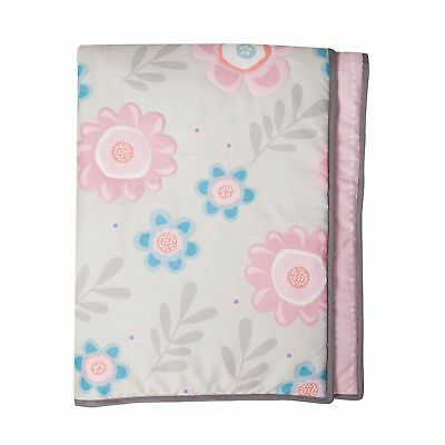 Lambs & Ivy Layla Collection Reversible Coverlet Quilt  -  Blue, Pink, Gray,