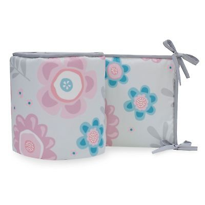 Lambs & Ivy Layla Collection 4-Piece Perfect Fit Bumper - Blue, Pink, Gray
