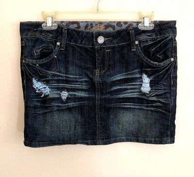 Almost Famous Skirt Size 9 Junior Girls Distressed Jean Pockets Dark Wash