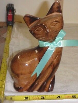 """Vtg Hand-Carved Wood CAT Figurine w/Blue Ribbon - 5 1/2"""" High - Phillipines"""