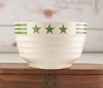 Vintage Hall USA China Cream Green Stars & Stripes Cereal Soup Small Mixing Bowl