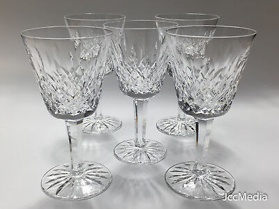 """WATERFORD - Set of 5 pre-owned Crystal Lismore 6"""" Wine Glasses"""