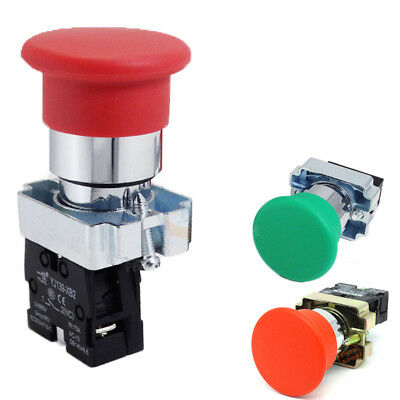 22mm 10A XB2 Metal Off(On) Momentary Mushroom Pushbutton Switch Red Green