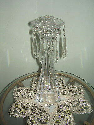 Antique Chandelier Glass Candle Holder Bobeche w/6 Prisms