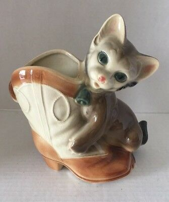 Vintage Royal Copley Pottery Black Kitten Cat With Cowboy Boot Planter