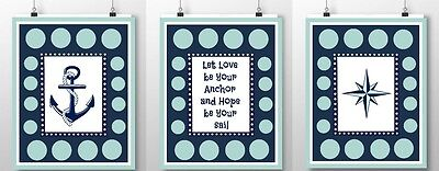3 nautical nursery prints navy aqua anchor star quote kid bedroom wall decor