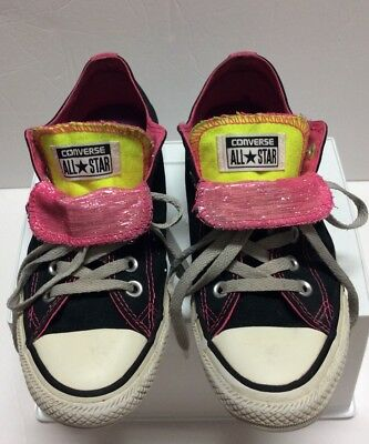 Converse Women's All Star Black Pink Canvas Double Tongue Shoes Sneakers Size 8