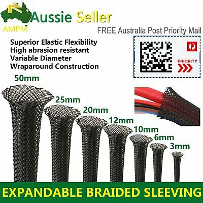 PET Nylon Expandable Braided Braiding Wire Sleeve Sleeving Protect Black 3Meters