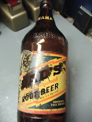 Dad's Root Beer Mama Size  Full  Quart  Amber Bottle Buffalo N Y