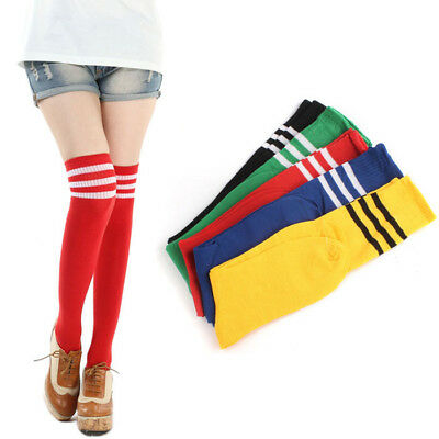 Over The Knee Thigh High Socks 5Color Choice Stripes Girls Womens Cheerleader