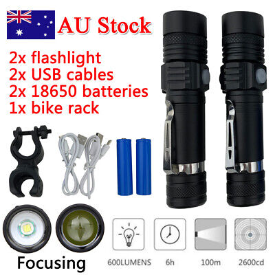 65000LM Military XM-L T6 LED Rechargeable Flashlight Torch Zoomable Hunting Zoom