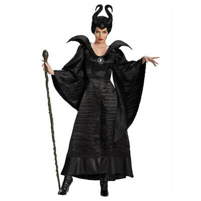 Movie Maleficent Costume Black Witch Christening Gown Fancy Dress With Horn