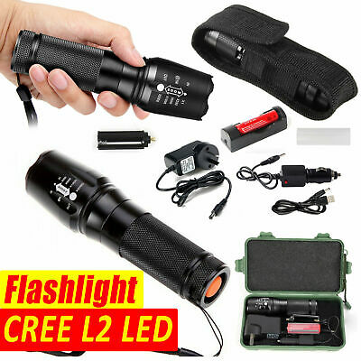 80000LM L2 LED Rechargeable Tactical Torch Flashlight CREE Zoomable Hunting AU