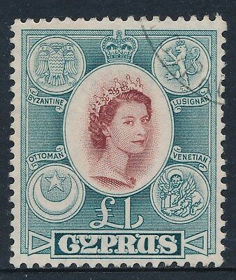 1955-1960 CYPRUS £1 BROWN-LAKE & SLATE SG187 FINE USED our ref A